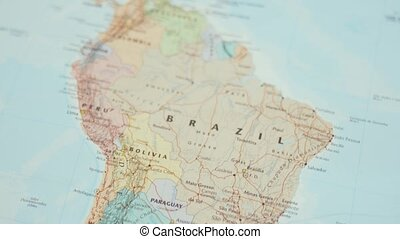 Picture of The Country of Brazil on a Colorful and Blurry South America Map