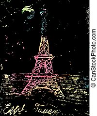 picture of the Eiffel Tower - Hand drawn Eiffel Tower....