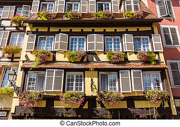 facade of a half timbered house in the old town of Strasbourg, France