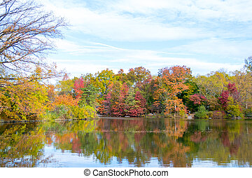 Picture of The Lake in Central Park from the Bethesda fountain