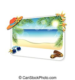 Picture of the sand beach landscape on white background.