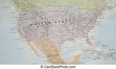 Picture of The United States of America on a Colorful and Blurry North America Map