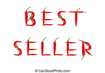 Picture of the words BEST SELLER written with red chili ...