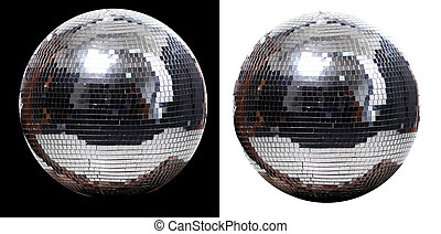 two disco ball - picture of two disco ball at black and...