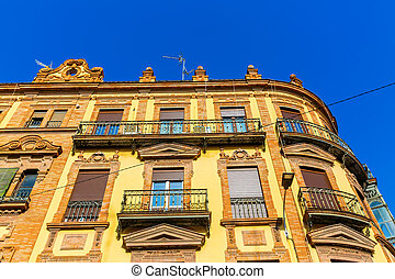 typical old building in the old town of Seville, Spain