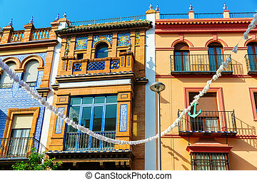 typical old buildings in the old town of Seville, Spain