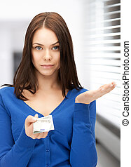 unhappy woman with euro cash money - picture of unhappy ...