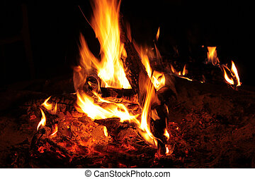 Picture of Warm Flaming Bushveld Fire at Night