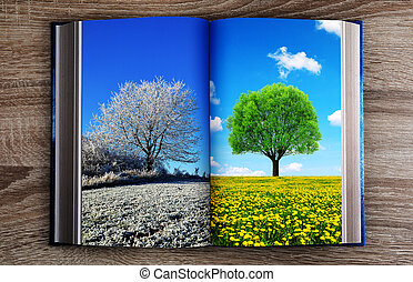 Picture of winter and spring landscape in the book.