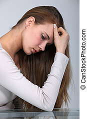 picture of woman in profile looking depressed
