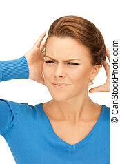 woman with hands on ears - picture of woman with hands on ...