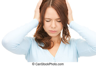 woman with hands on ears - picture of woman with hands on...