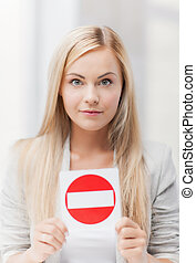 woman with no entry sign - picture of woman with no entry...