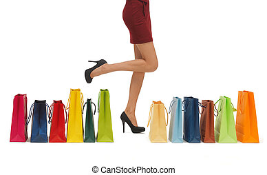 long legs with shopping bags - picture of woman's long legs ...