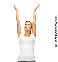 happy woman with hands up
