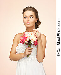 woman with bouquet of flowers - picture of young woman with ...
