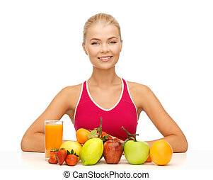woman with organic food or fruits