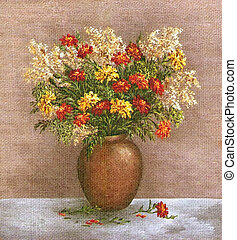 Marigold And Saffron in a Clay Vase