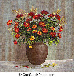 Marigold Flowers in a Clay Pot