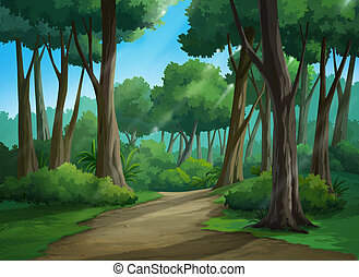 Picture painted in deep forest - Illustration of an outdoor...