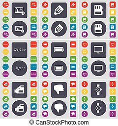 Picture, Pencil, SIM card, Note, Battery, Monitor, Film camera, Dislike, Wrist watch icon symbol. A large set of flat, colored buttons for your design. Vector