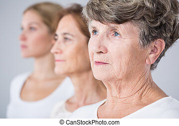 Picture presenting aging process - Picture presenting three...