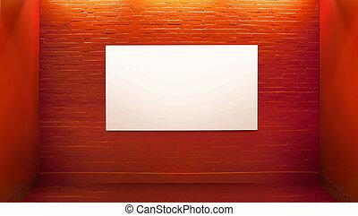 Picture presenting white board in art gallery