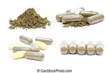 picture set of andrographis paniculata herbal antipyretic capsules isolated on white