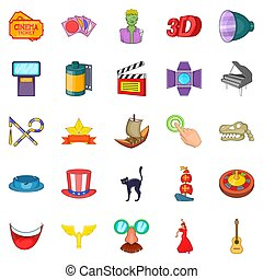 Picture show icons set, cartoon style
