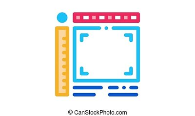 picture size frame Icon Animation. color picture size frame animated icon on white background