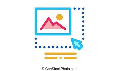 picture size increase Icon Animation. color picture size increase animated icon on white background