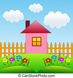 picture with a house and floral flowerbed on a green lawn, illustration