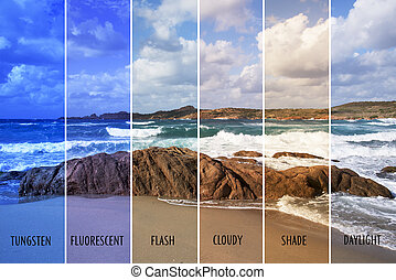 picture with different color balances - picture of a beach ...