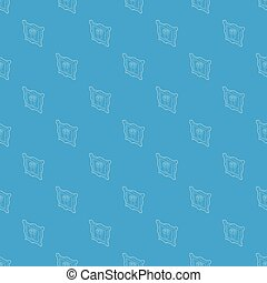 Picture with flowers in a vase pattern vector seamless blue