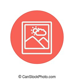 Picture with frame thin line icon