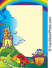 Picture with the castle, carriage, horses and place for sample text. Fairy-tale. Vector art-illustration.