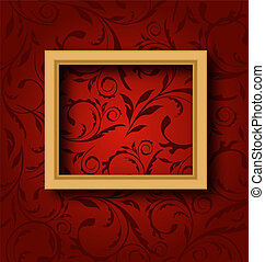 Picture wooden frame on vintage wall