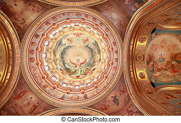 Pictured ceiling near arch inside Cathedral of Christ the Saviour in Moscow, Russia