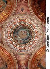 pictured, koepel, op, de, binnen, kathedraal, van, christus,...