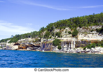 (pictured, península, estados unidos de américa, superior, -, rocks), michigan