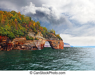 Pictured Rocks Arch - Right view of Lover's Leap Arch...