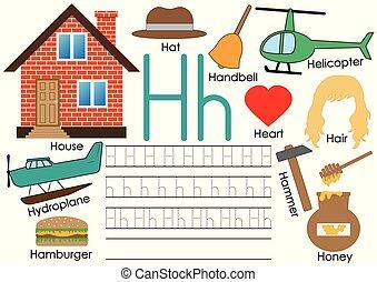 pictures., ללמוד, אלפבית, practice., לכתוב, וקטור, h., מכתב, אנגלית, illustration.