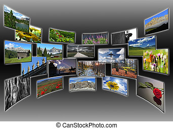 pictures collage on wide screen