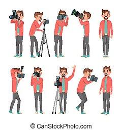 pictures., fotograf, photos., nehmen, equipment., freigestellt, abbildung, fotoapperat, vector., digital, professionell, weißes, studio., zeichen, karikatur, foto, machen