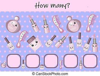 pictures., kinder, sheet., kinder, ausrüstung, spiel, aktivität, karikatur, hairdressing