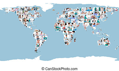 Pictures of doctors forming a world map - Illustration about...
