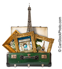 Pictures of Paris in suitcase