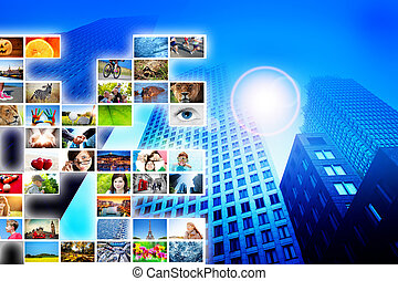 Pictures, photos display on modern skyscraper background