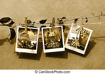 Pictures pinned on clothesline