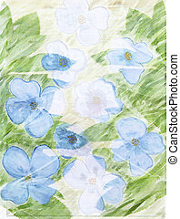 Picturesque abstract floral background with blue flowers and lea